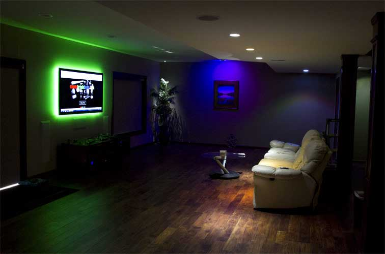LED light strip uses in TV room image. Click if you would like to see